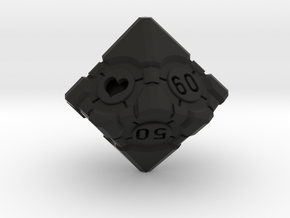 Spindown Companion Cube 10D10 - Portal Dice in Black Natural Versatile Plastic: Small