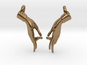 Hamsasyam Mudra Earrings (Open) in Natural Brass
