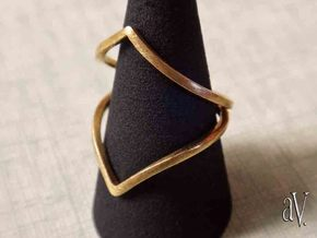 Line Flower Bend Ring in Natural Brass: 8 / 56.75