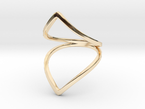Line Flower Bend Ring in 14k Gold Plated Brass: 4 / 46.5