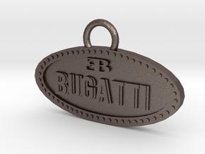 Bugatti keychain in Polished Bronzed Silver Steel
