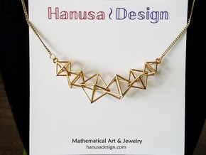 Interlocking Octahedron Necklace in Interlocking Raw Brass