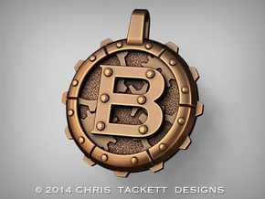"Steampunk Monogram Pendant ""B"" in Raw Bronze"