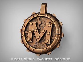 "Steampunk Monogram Pendant ""M"" in Raw Bronze"