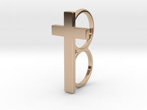 Double Cross Ring in 14k Rose Gold Plated
