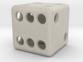 Balanced Hollow Dice (D6) (1.5cm) (Method 1) in Natural Sandstone