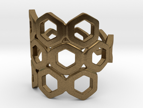 Bee Square 3S Ring in Natural Bronze: 4 / 46.5