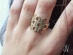 Bee Square 3S Ring in Natural Brass: 8 / 56.75