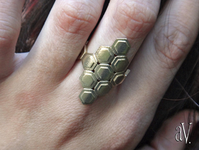 Bee Square 3T Cylinder Ring in 14k Rose Gold Plated Brass: 7.5 / 55.5