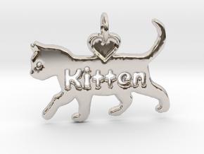Kitten pendant, cat pendant, pet play pendant in Rhodium Plated Brass