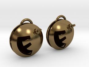 F-Bomb earrings in Polished Bronze (Interlocking Parts)
