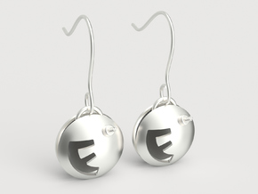 F-Bomb earrings in Polished Silver (Interlocking Parts)