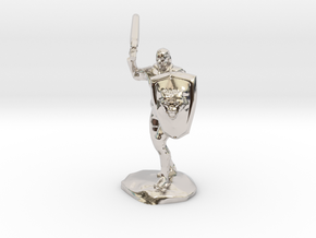 Barbarian with Sword and Bear Shield in Rhodium Plated Brass