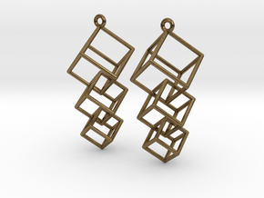 Dangling Cubes Earrings in Natural Bronze (Interlocking Parts)