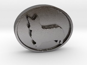 Corgi Charm (thicker version) in Polished Nickel Steel