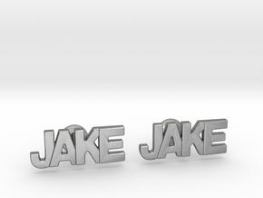 Custom Name Cufflinks - Jake in Natural Silver
