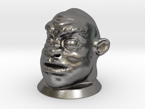 Ogre Head, Board Game Piece in Polished Nickel Steel