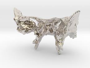 Human Sphenoid Bone Pendant in Rhodium Plated Brass