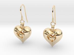 Open Love Heart Earring in 14k Gold Plated Brass