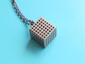 Perforated Cube Pendant  in Polished Bronzed Silver Steel