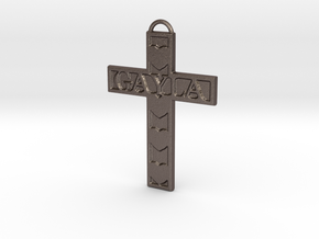 Gayla Cross Pendant in Polished Bronzed Silver Steel
