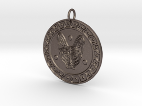 Maned Wolf Veve Pendant in Polished Bronzed Silver Steel
