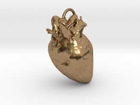 Heart pendant in Natural Brass: Small