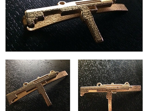 UZI MONEY/TIE CLIP in Polished Bronzed Silver Steel