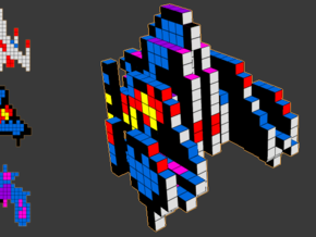 8-bit cutout (Galaga) in Full Color Sandstone