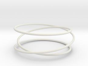 Triple Wrap Bracelet in White Premium Versatile Plastic: Small