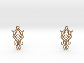 Art Nouveau Earrings in Polished Brass