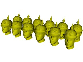 1/33 scale figure heads w pickelhaube helmets x 12 in Smoothest Fine Detail Plastic