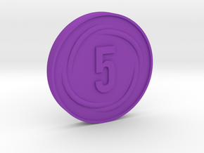 5 Coin in Purple Processed Versatile Plastic