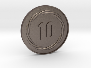 10 Coin in Polished Bronzed Silver Steel