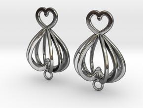 Open Heart Earrings in Precious Metals in Polished Silver