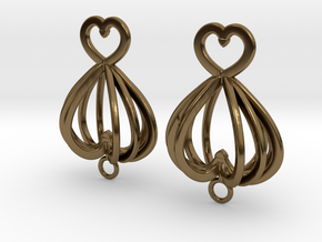 Open Heart Earrings in Precious Metals in Polished Bronze