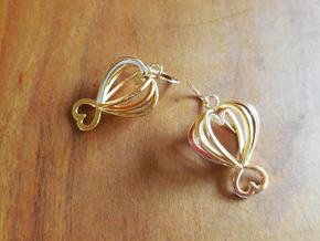 Open Heart Earrings in Precious Metals in 18k Gold Plated