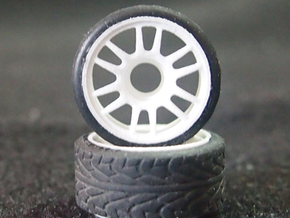 Split-6 Rear 20mm Mini-Z Wheel in White Natural Versatile Plastic
