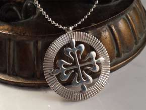 Stunning French Cross Medallion in Fine Detail Polished Silver