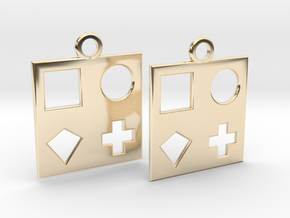 square earrings in 14k Gold Plated Brass