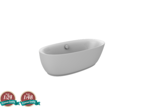 Miniature NOVAK Bathtub - Noken in White Natural Versatile Plastic: 1:24