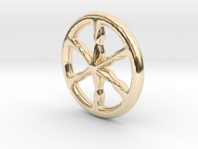 Ancient celtic wheel charioteer's pendant v02 in 14k Gold Plated Brass