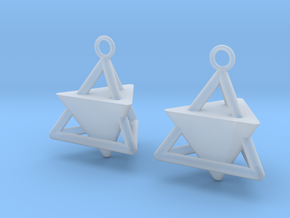 Pyramid triangle earrings Serie 2 type 3 in Smooth Fine Detail Plastic