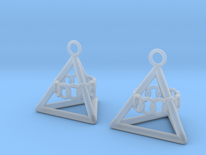 Pyramid triangle earrings serie 3 type 6 in Smooth Fine Detail Plastic