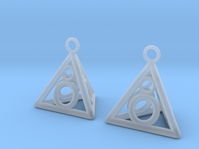 Pyramid triangle earrings serie 3 type 3 in Smooth Fine Detail Plastic