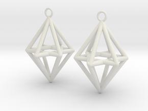 Pyramid triangle earrings type 14 in White Premium Versatile Plastic