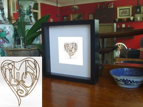 Alison - Personalised 2D Heart in Natural Brass