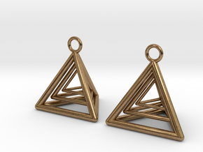 Pyramid triangle earrings type 9 in Natural Brass