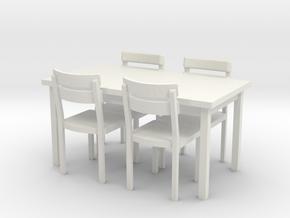 Tisch und Stuehle 1:45 (Spur 0) in White Natural Versatile Plastic