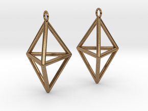 Pyramid triangle earrings type 3 in Natural Brass